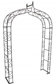 Rosenbogen aus Metall stabil mit Spitze, Breite 140cm, Höhe 245cm Vollmaterial Edelrost,Tiefe 40cm, 4-tlg