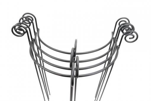 4x Staudenhalter HUGO halbrund Höhe 90 cm Breite 45 cm schwarz Tiefe 22 cm Material 8/10 mm Pulververzinkt/Pulverbeschichtet