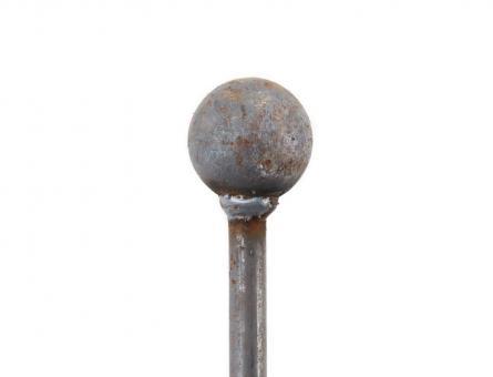 Rankstab aus Metal stabil mit Kugel freistehende Höhe 100 cm 12mm Dekoration für den Garten in Naturrost als Rankhilfen für Stauden