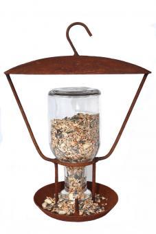 Vogelfutterstation mit Glasflasche aus Metall in Naturrost Rost, zum Stellen oder Hängen, Futterspender, Futtersta