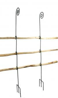 Bischofstab mit Knoten mit Holz im SET Farbe dunkelgrün matt 5-tlg. Holzstangen 150 cm, Knotenstab 170 cm pulverbeschichtet