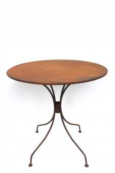 Tisch aus Metall Ø 72 cm stabil und massiv in Naturrost Rostoptik, Blumenhocker Beistelltisch Gartentisch rund in rost