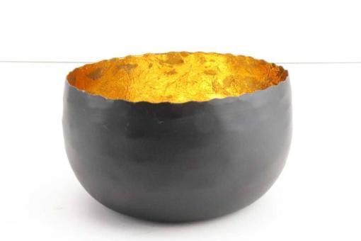 Teelichthalter aus Metall Ø 16cm H9cm Farbe matt schwarz, innen mit Gold-Farbfolie aus gekleidet, standfest und se gold
