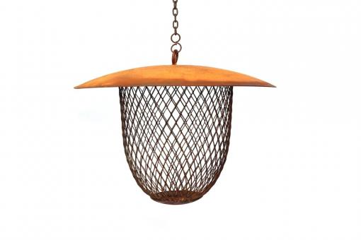 Vogelfutterspender aus Metall in Naturrost für Vögel, zum Hängen, Futterspender, Futterstation für Wildvögel zum Füttern