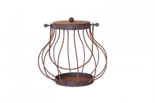 Laterne Linda28 aus Metall Rost-Laterne Edelrost D:28cm H:46cm Windlicht Garten-Deko Blumenampel Dekoration
