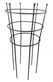 Staudenhalter Trichter rund 3-fach Ring Vollmaterial 12 mm Höhe 116 cm, Ø 55-50-45 cm Rundeisen unbehandelt Kugel 25 mm