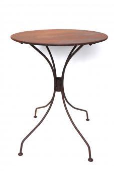 Tisch aus Metall Ø 55 cm stabil und massiv in Naturrost Rostoptik, Blumenhocker Beistelltisch Gartentisch rund