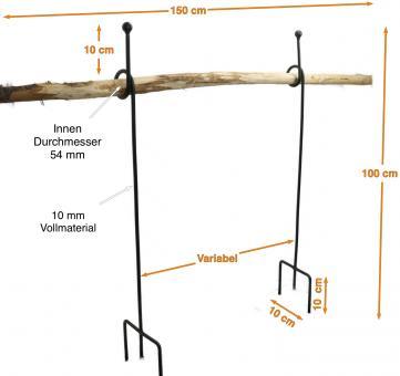 Staudenanker SET GERD mit Knoten Höhe 100 cm, feuerverzinkt mit 3-fachem Fuss, 1 x Knoten Ø Innen 54 mm Vollmaterial 10 mm